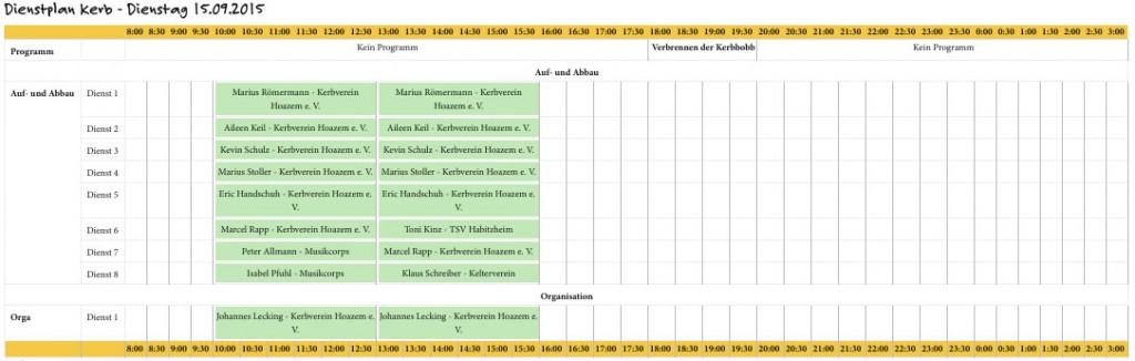 dienstplan-dienstag-150915